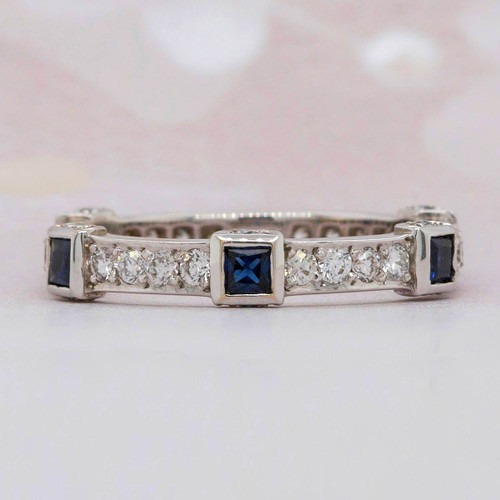Sapphire and diamond eternity band