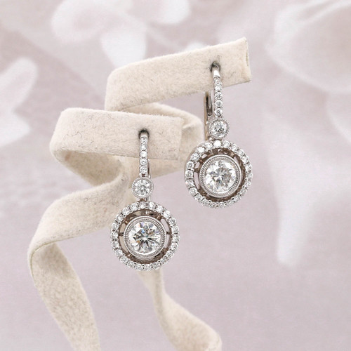 Round Diamond Halo Dangle Earrings
