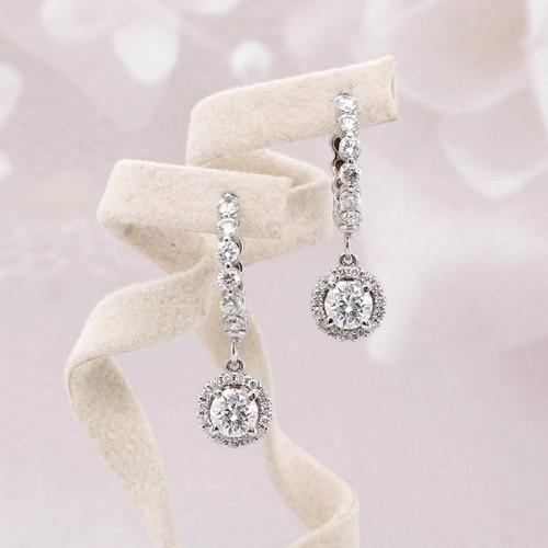 Halo Round Diamond Dangle Earrings