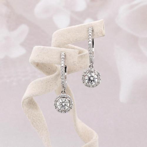 Halo Diamond Dangle Earrings