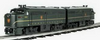 Williams PRR (correct freight colors) FA-1  A-A diesels , 3 rail, conventional operation