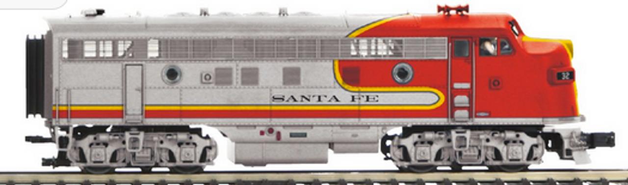 MTH Premier Santa Fe  F-3 A-B-A  diesels, 2 rail, DC, DCC. proto 3.0 (plated bright silver finish)