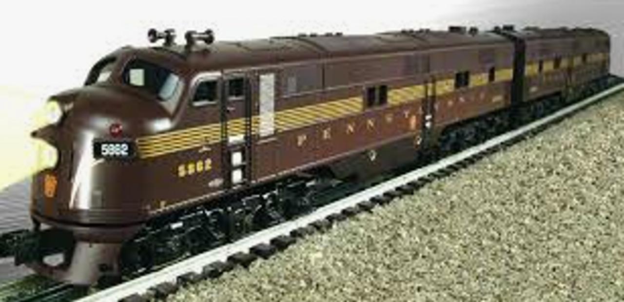 Williams PRR (tuscan, 5 stripe) E-7 A-A diesels , 3 rail, conventional operation