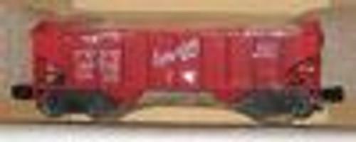Weaver CB&Q (red) 2 bay hopper car, 3 rail or 2 rail