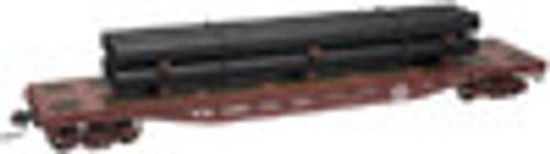 Atlas O WM  50' flat car with pipe load, 3 rail or 2 rail