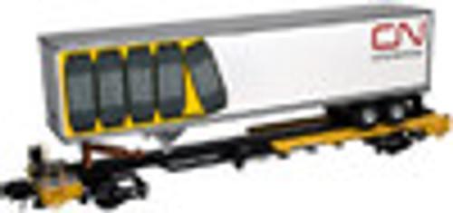 Atlas O TTX front runner intermodal skeleton flat car with CN trailer