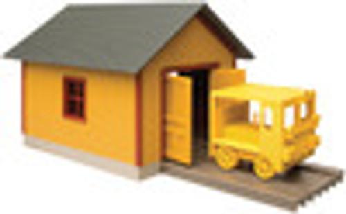 Walthers O gauge Speeder shed and speeder, built up