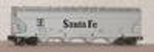 Weaver Santa Fe  (gray) 50' Centerflow covered hopper, 2 or 3 rail