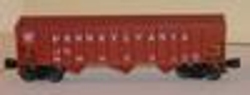 Weaver PRR 3 bay ribbed hopper car, oxide red, plain keystone, small numbers