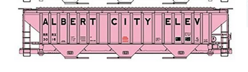 Atlas O  PDT exclusive Set of 6 Pink Grain elevator PS4750 Covered Hopper cars..3 rail