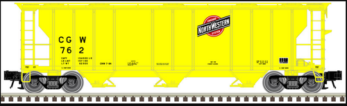 Atlas O CNW/CGW (yellow) 40' 3 Bay PS-2 Covered Hopper