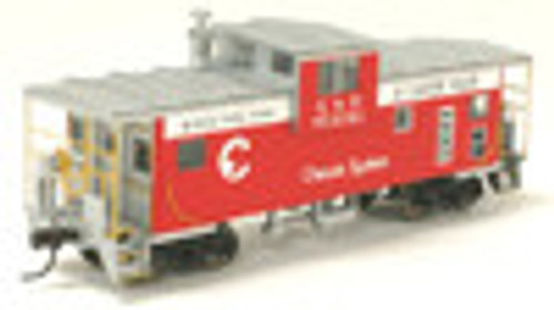Atlas O Chessie Safety (red) Extended Vision caboose, 3 rail