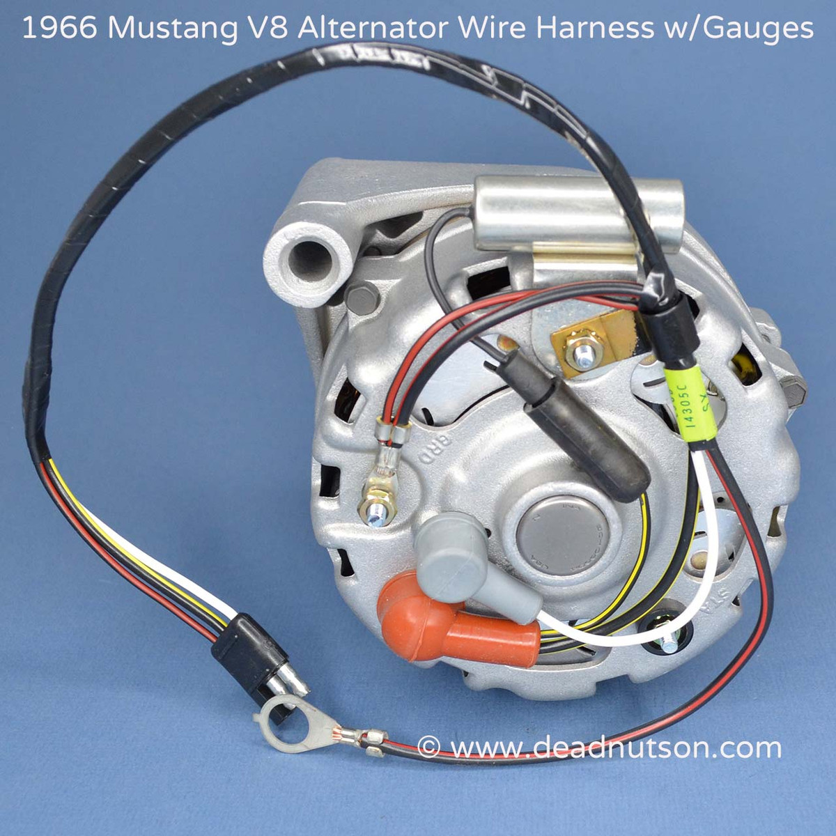 1964 1965 mustang alternator wire harness tag 289 w instrument gauges 6 Gauge Alternator Wiring Kit