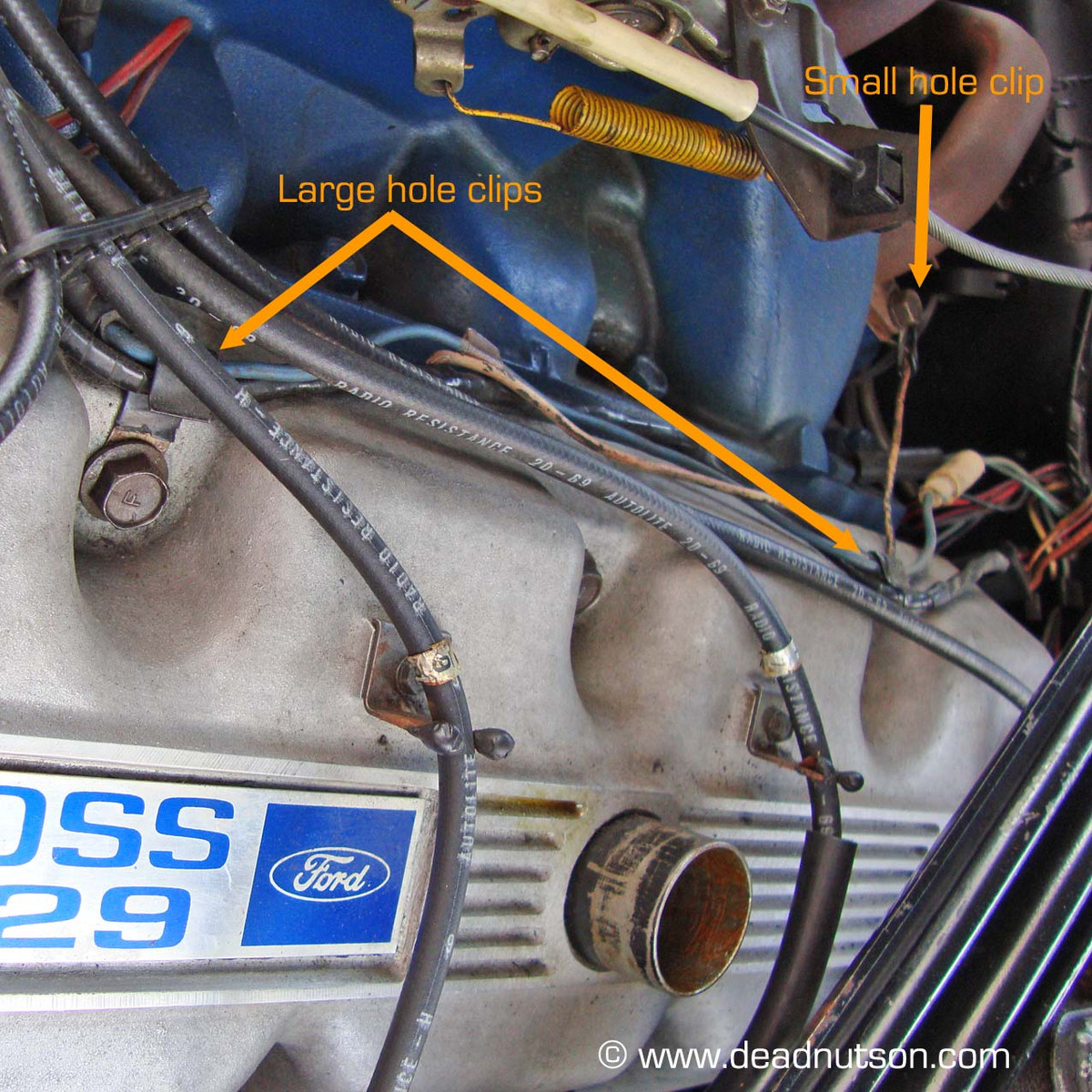 BOSS 429 Engine Gauge Feed Wire Harness Clips - Dead Nuts On Off Set Wiring Harness Clips on