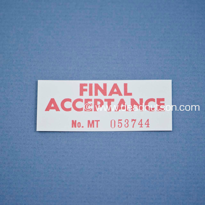 Final Acceptance Decal