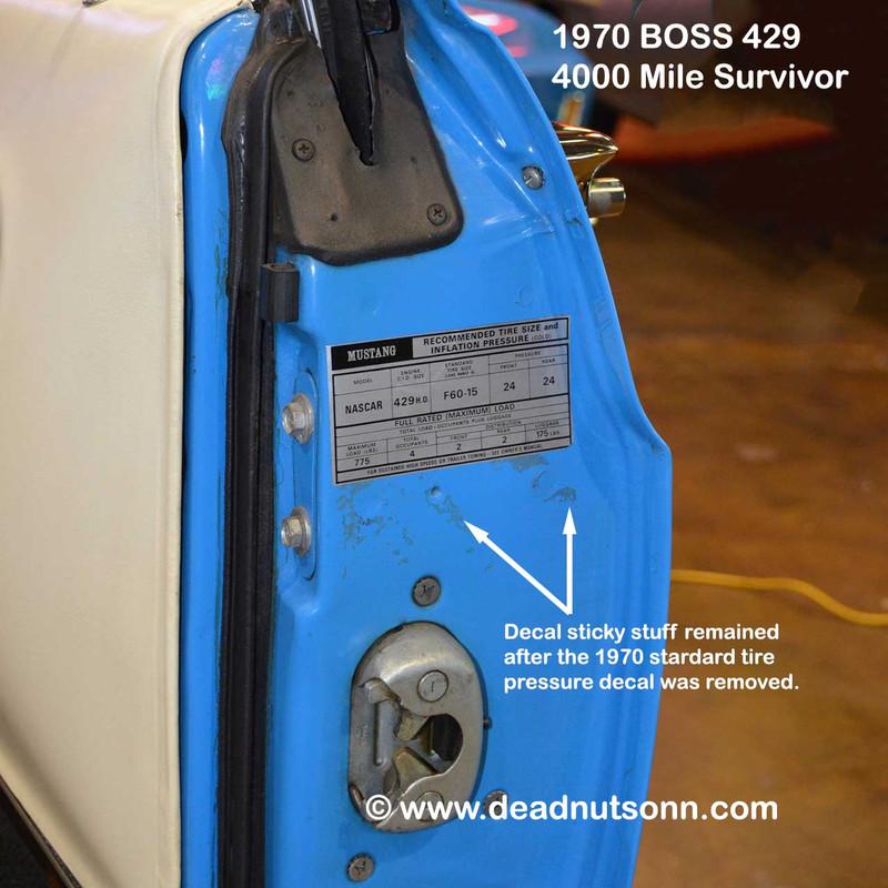 1969-70 BOSS 429 Tire Pressure Decal