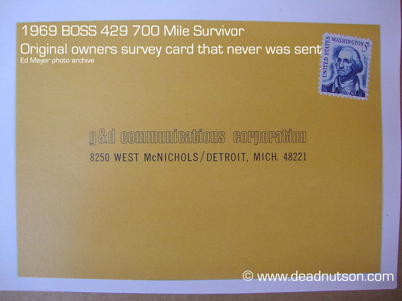 BOSS 429 Owners Survey Postcard. Original owners card that was never sent back to Ford.