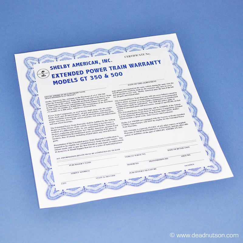 1969-70 Shelby Warranty Certificate