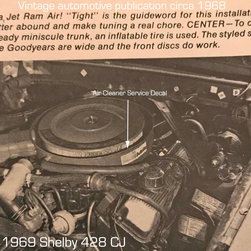 1969 Shelby Air cleaner service decal