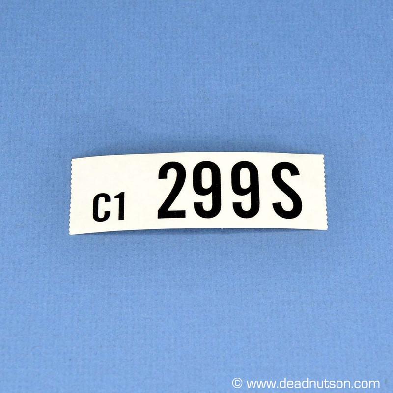 1969 BOSS 302 Engine ID Decal C1 299S Black