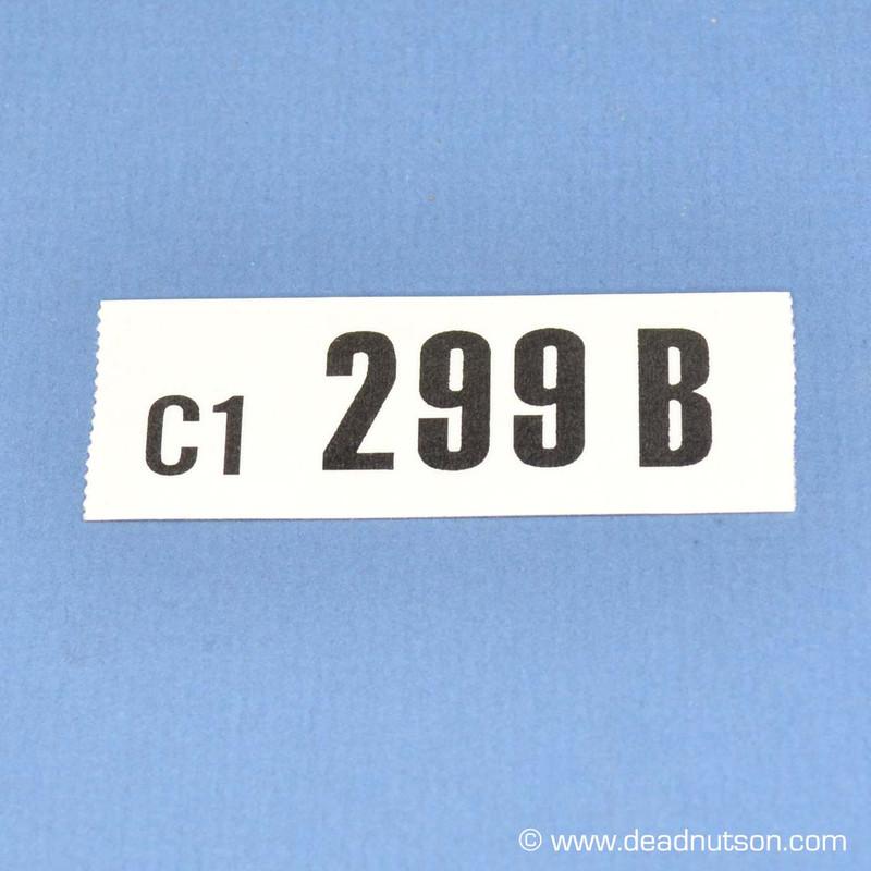 1970 BOSS 302 Engine ID Decal 299B C1