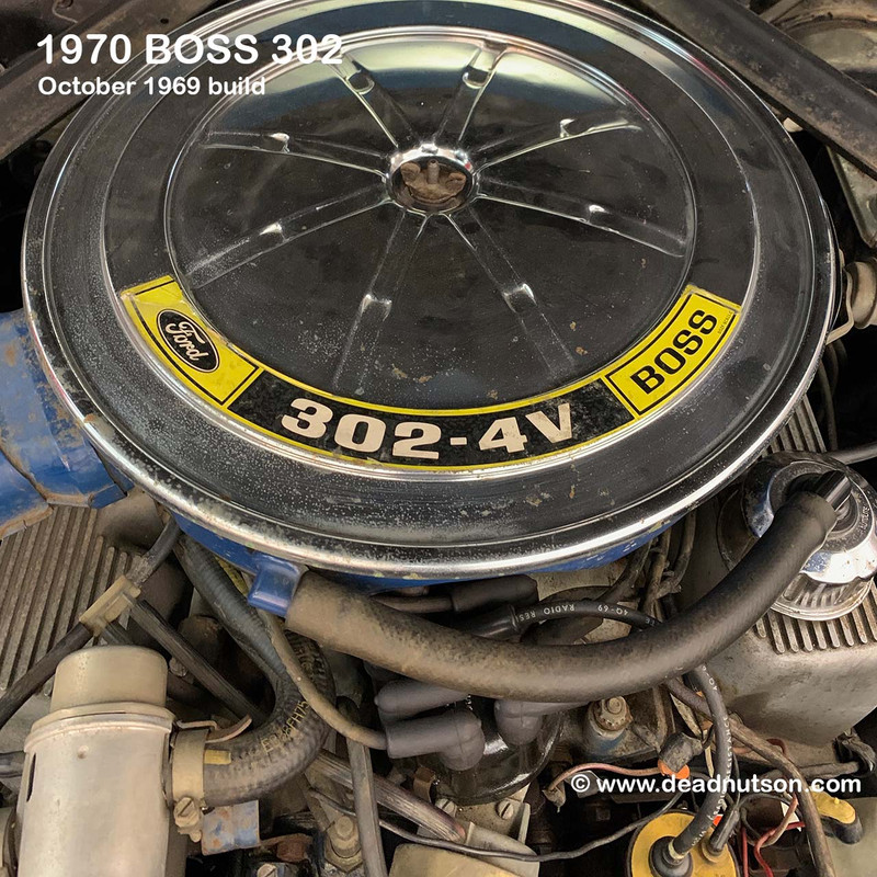 1970 BOSS 302 Air Cleaner Engine Size Decal