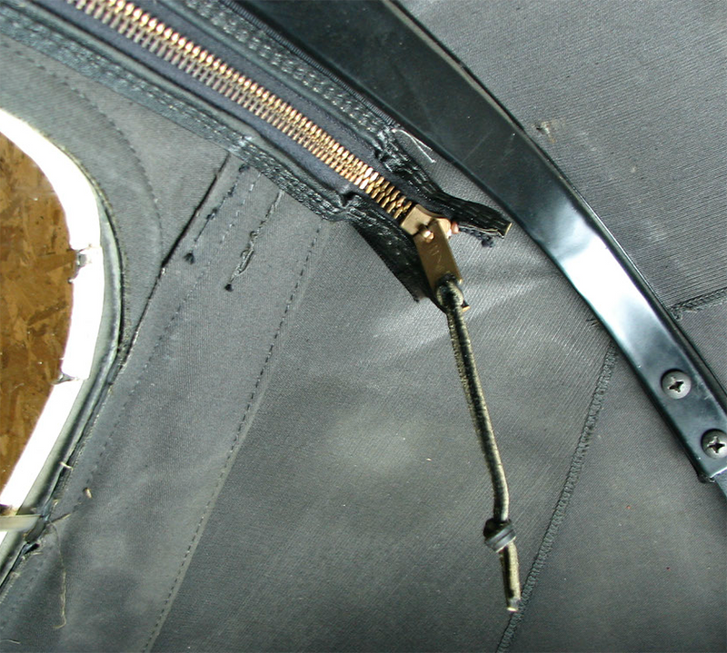 Convertible Top Rear Window Leather Zipper Pull