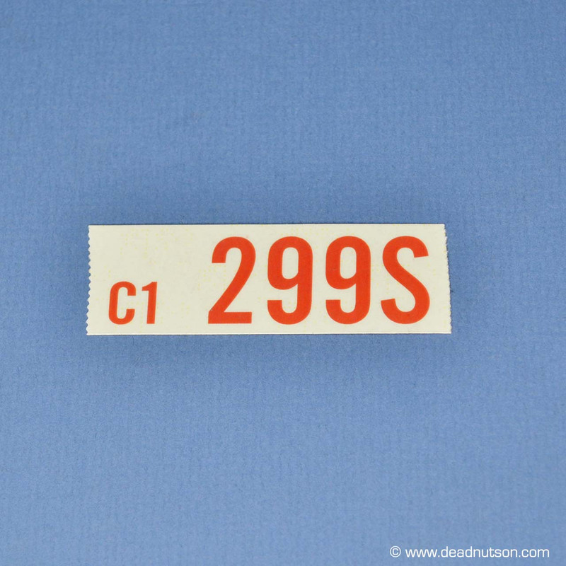 1969 BOSS 302 C1 299S Engine ID Decal