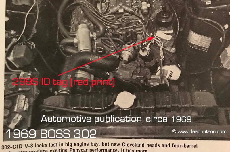 1969 BOSS 302 C1 299S Engine ID Decal