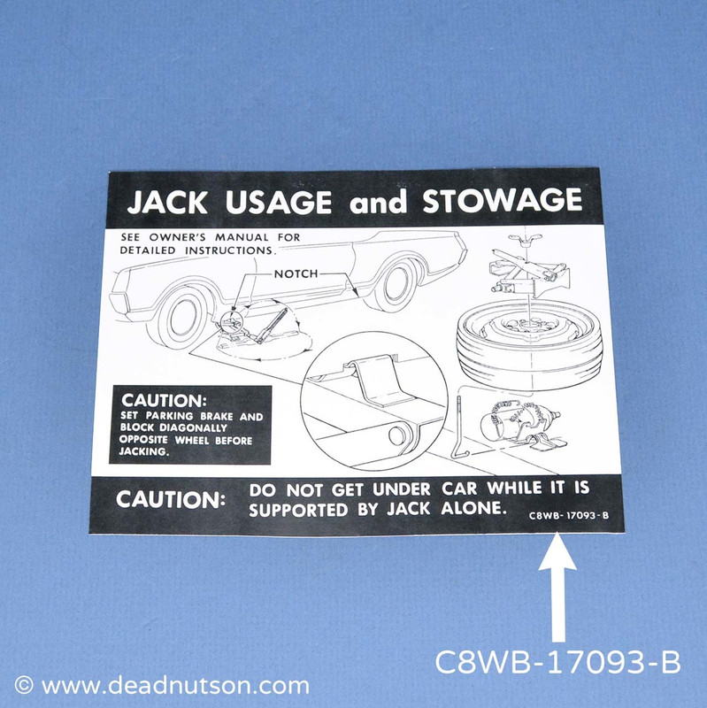 1969-70 Jack Usage and Stowage Decal | Space Saver Wheel