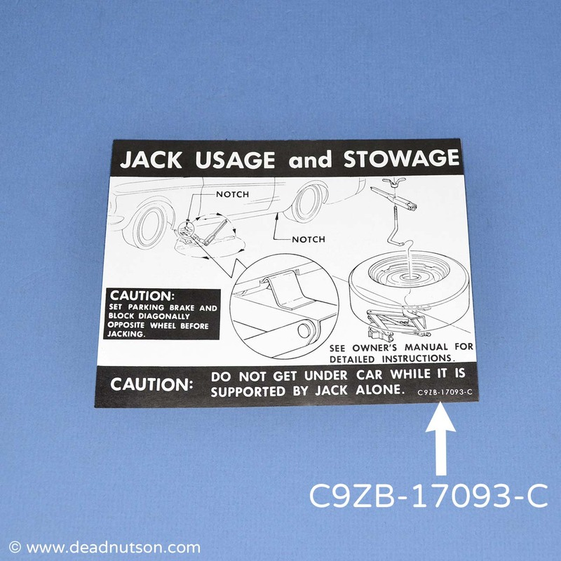 1969-70 Jack Usage and Stowage Decal | Full Sized Wheel