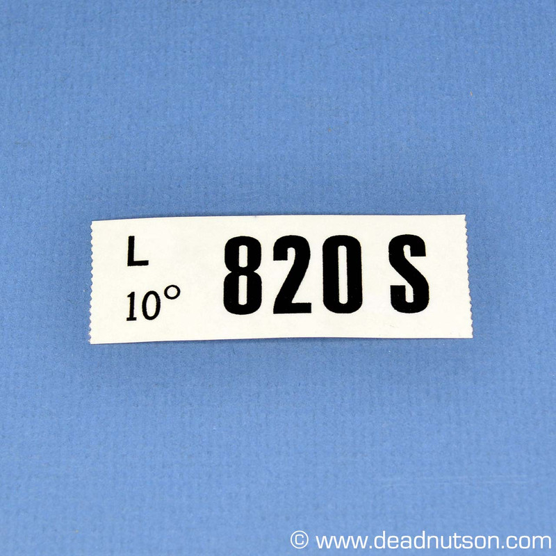 1969 BOSS 429 820S Engine ID Decal