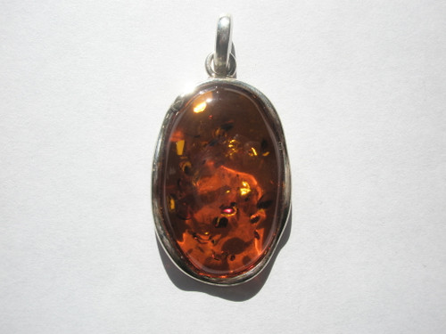 Genuine Cognac Baltic Amber and .925 SS Pendant -38x25mm - 1