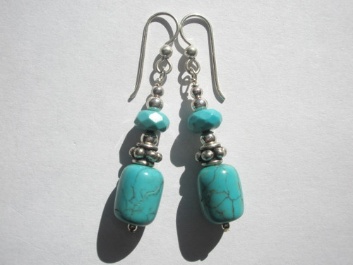 Genuine Turquoise and Sterling Silver Earrings by JBA Jewelry