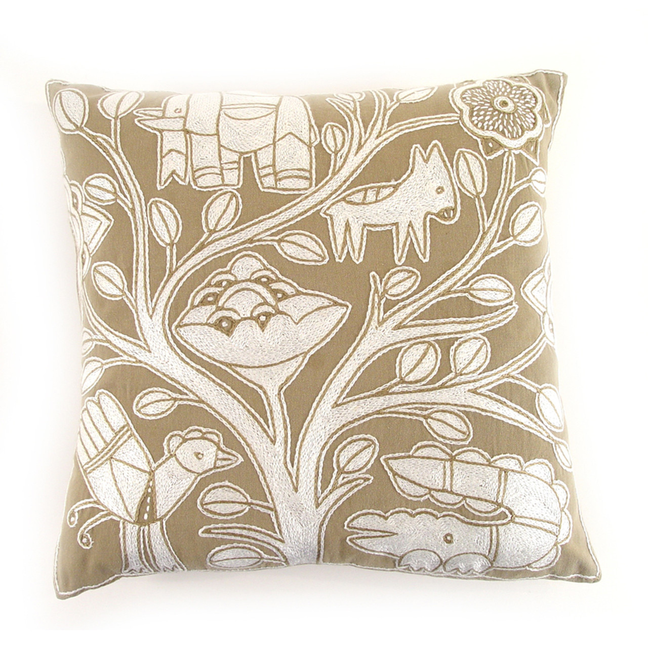 Beige And White Embroidered Pillow Mbare