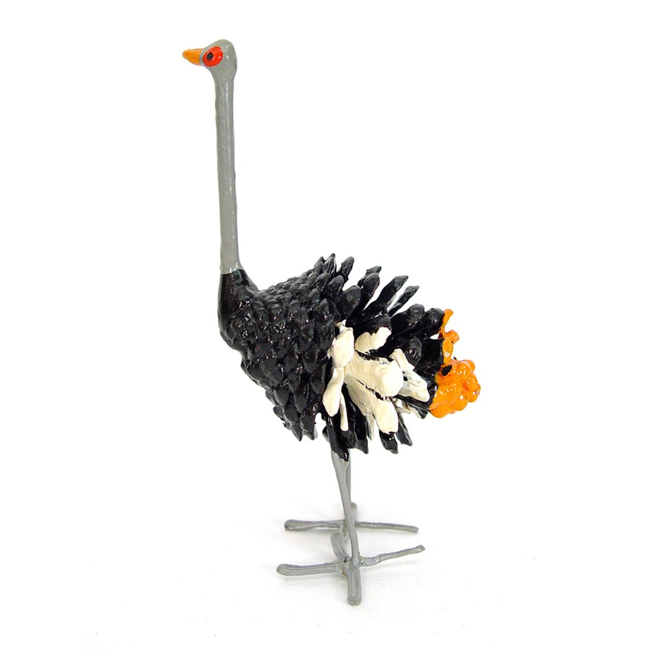 Recycled Bird Sculptures| Pine Cone Ostrich