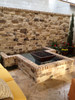 "29"" copper Corinthian fire feature in outdoor patio"