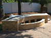 curved fire pit frame in outdoor fire feature