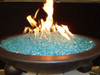 Aquamarine fire glass in fire bowl