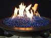 Cobalt blue fire glass in lit fire pit