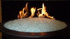 Crystal diamond fire glass in lit fire pit