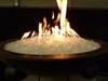 Large diamond fire glass in lit fire bowl