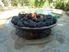 "Large lava rock in 60"" Barbados fire bowl"