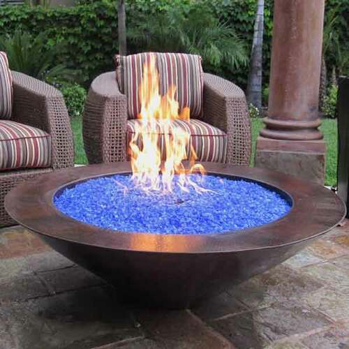 "48"" Grand Cobre Copper Fire Bowl with blue fire glass"
