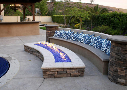 86 Quot Curved Fire Pit Frame Manual Gas Burner Flame Creation