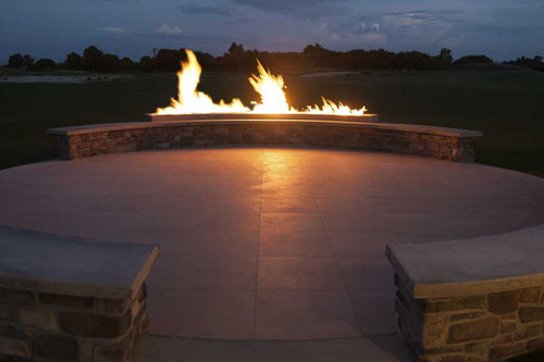 103 Quot Curved Fire Pit Frame Manual Gas Burner Flame