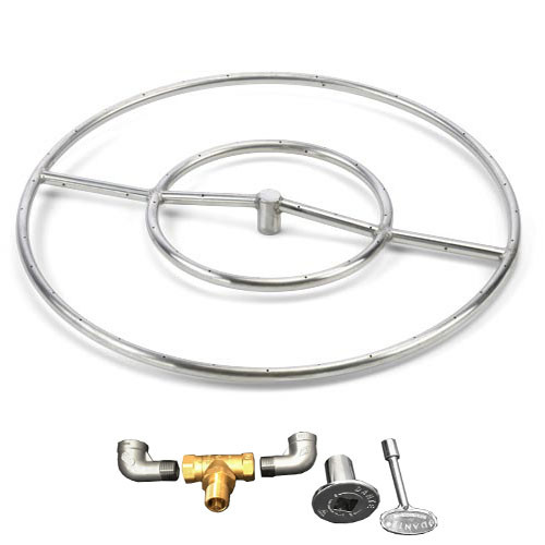 "24"" stainless steel round gas fire ring kit"
