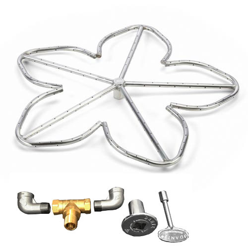 "24"" stainless steel Penta burner gas fire ring kit"