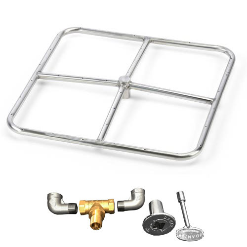 "18"" square burner kit which includes fire ring, valve, key, decorative valve cover, 1/2"" gas pipe nipples and elbows."