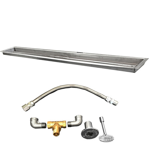 "120"" trough kit with Pan, burner, flexible gas line, valve, key, decorative valve cover, gas pipe nipples and elbows."